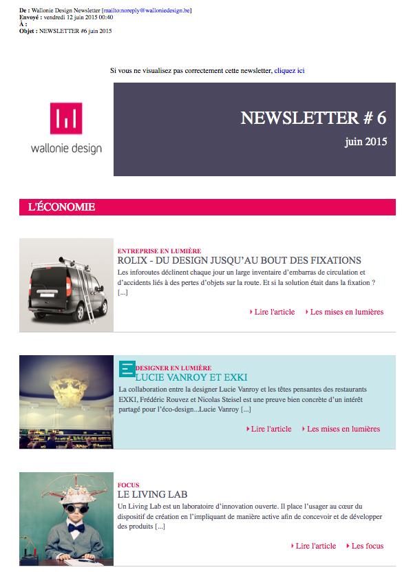 newsletter Wallonie Design juin 2015